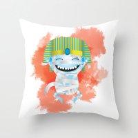 kiki Throw Pillows featuring King KiKi by Unknown Illustration