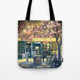 Shakespeare and Company night life painting by Bonnie Parkinson Tote Bag