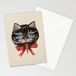 Cute Krampus cat face with red bow Stationery Cards