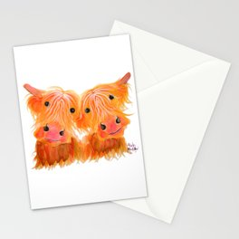 Scottish Highland Cows ' THE HIGHLAND MOOS ' by Shirley MacArthur Stationery Cards