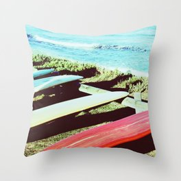 Vintage Longboards Throw Pillow
