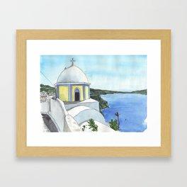 Santorini Chapel Framed Art Print