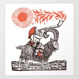 Yule Goat and Solstice horn Art Print