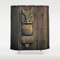 wooden Shower Curtains featuring Wooden Owl by Dorothy Pinder
