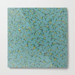 The birds and the bees pattern on blue Metal Print