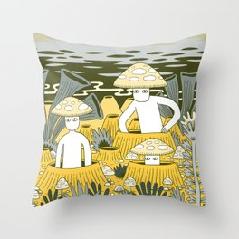 Mushroom Men Throw Pillow