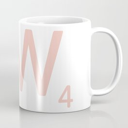 Pink Scrabble Letter W - Scrabble Tile Art and Accessories Coffee Mug