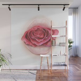 Lips withe Pink Rose - by Greta Darets Wall Mural