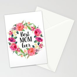 Best Mom Ever Floral Wreath Stationery Cards