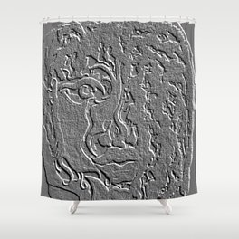 Face Artifact Greyscale Shower Curtain