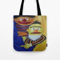 sesame street Tote Bags featuring Sesame Street Bert and Ernie by ArtSchool
