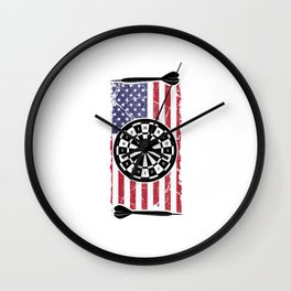 Proud American USA Flag Dart Player Gift Wall Clock