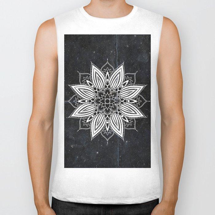 Flower Mandala in the Stars Biker Tank