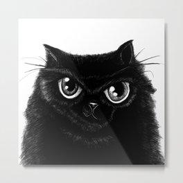 Sketch of my fat, black cat Metal Print