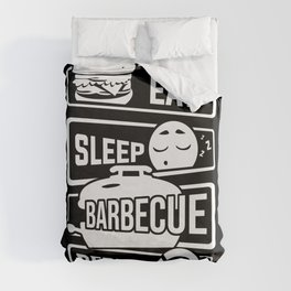 Eat Sleep Barbecue Repeat - Grill BBQ Smoker Duvet Cover