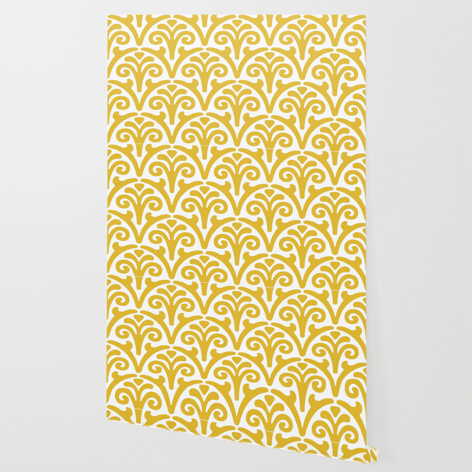 Floral Scallop Pattern Mustard Yellow Wallpaper By Tonymagner