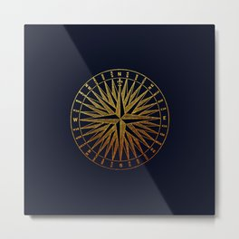 The golden compass- maritime print with gold ornament Metal Print