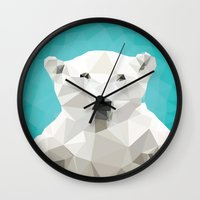 bear Wall Clocks featuring ♥ SAVE THE POLAR BEARS ♥ by ℳixed ℱeelings