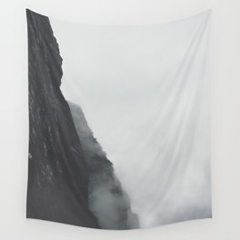 Black And White Misty Cliff Photography Mystery Foggy Landscape Wall Tapestry