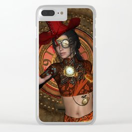 Steampunk women with hat Clear iPhone Case