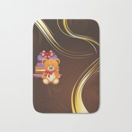 Teddy bear with gift boxes Bath Mat
