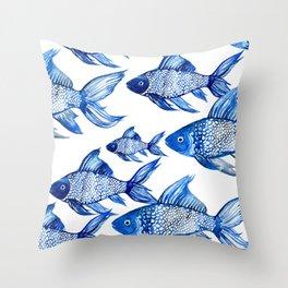 BLUE SCHOOL OF FISH Throw Pillow
