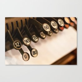 Close-up of antique cash register keys Canvas Print