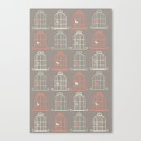 calendars Canvas Prints featuring Bird Cage Pattern, Illustration, Shabby Chic, Vintage, by Shabby Studios Design & Illustrations ..