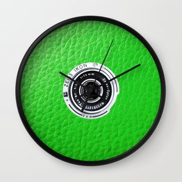 Camera vintage   green leaf    photographer gift Wall Clock