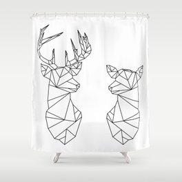 Geometric Stag and Doe (Black on White) Shower Curtain