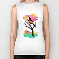 toucan Biker Tanks featuring Toucan by Vasilisa Wise
