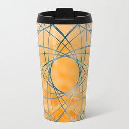Blue abstract shape in orange bakcground Travel Mug