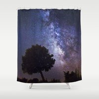 milky way Shower Curtains featuring Milky Way by FRPhotography
