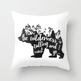 Wild Call - Bear Throw Pillow