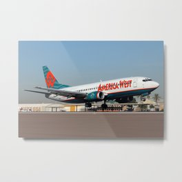 America West Airlines 737-300 landing at PHX Metal Print