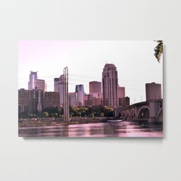 Minneapolis Minnesota Skyline at the Mississippi River Metal Print