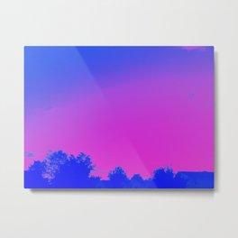 Blue + Pink Skyline Metal Print