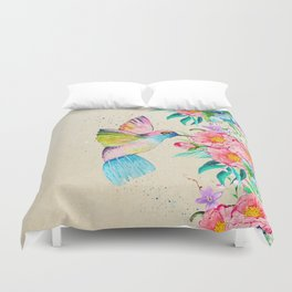 Whimsical watercolor hummingbird and  floral hand paint Duvet Cover