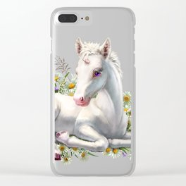 Baby unicorn lies in flowers Clear iPhone Case
