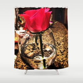 Rose in a Glass Shower Curtain