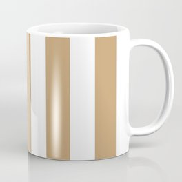Fallow brown -  solid color - white vertical lines pattern Coffee Mug