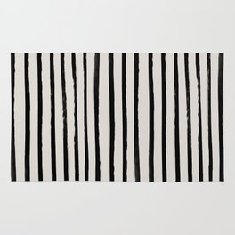 Vertical Black and White Watercolor Stripes Rug