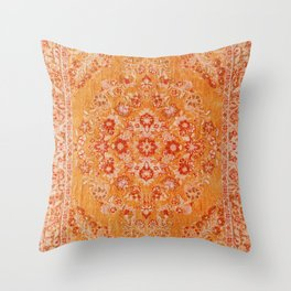 N78 - Orange Antique Oriental Berber Moroccan Style Carpet Design. Throw Pillow