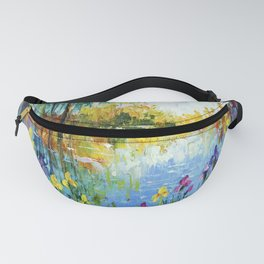 Irises by the pond  Fanny Pack