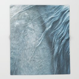 Wild horse photography, fine art print of the mane, for animal lovers, home decor Throw Blanket