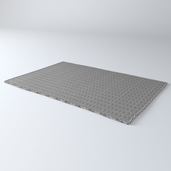Black and White Scallop Line Pattern Digital Graphic Design Rug