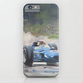 Jackie Stewart racing car in the wet iPhone Case