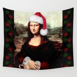 Mona Lisa Wearing a Santa Hat Wall Tapestry