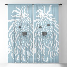 Puli (Blue and White) Sheer Curtain