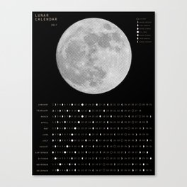 2017 Calendar - Lunar Canvas Print